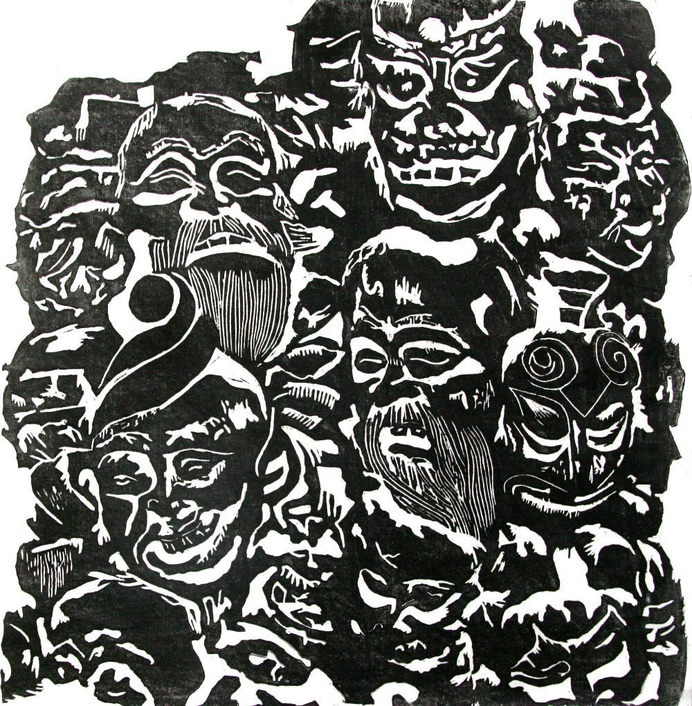 蜡染黑白图案素材
